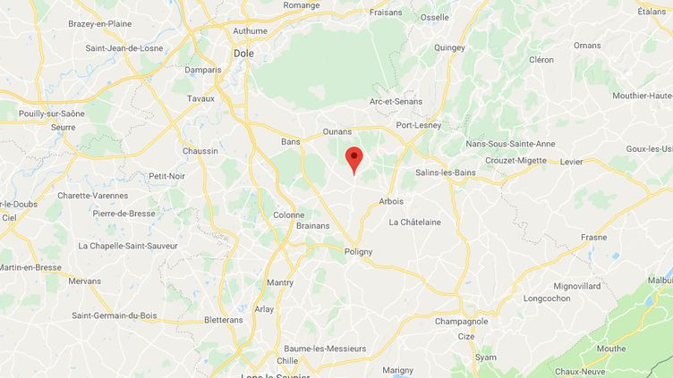 L'accident a eu lieu à Vadans, au beau milieu du vignoble jurassien. (CAPTURE D'ECRAN GOOGLE MAPS)