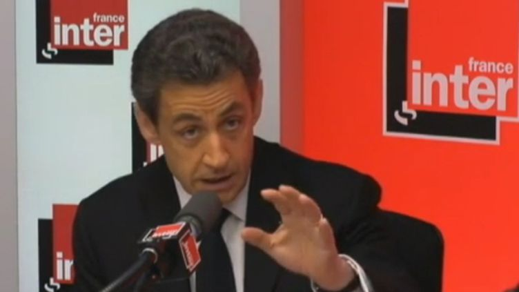 Nicolas Sarkozy sur France Inter, le 1er mars 2012. (FTVI / FRANCE INTER)