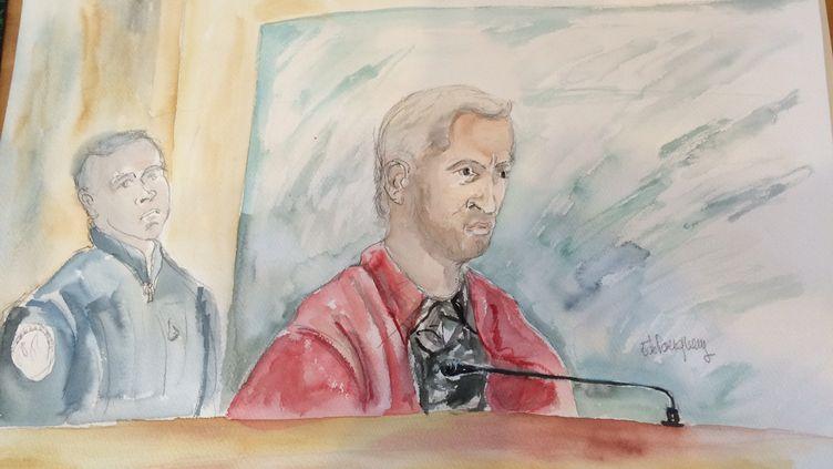 Christophe Champenois, accusé du meurtre de son fils, le 8 septembre 2015 devant la cour d'assises de Seine-et-Marne, où il est jugé. (ELISABETH DE POURQUERY / FRANCETV INFO)