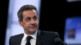"""Nicolas Sarkozy sur le plateau de l'émission """"Des paroles et des actes"""", le jeudi 4 février 2016. (KENZO TRIBOUILLARD / AFP)"""