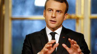 Le président Emmanuel Macron prononce un discours à l'Elysée, le 30 décembre 2017. (ETIENNE LAURENT / AFP)