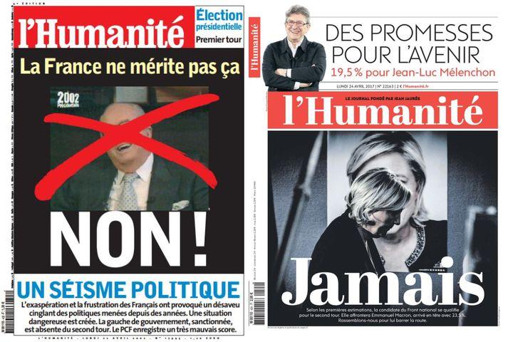 """Unes du quotidien """"L'Humanité""""du 22 avril 2002 et du 24 avril 2017. (L'HUMANITE)"""