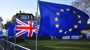 Des drapeaux européen et britannique disposés devant le Palais de Westminster, à Londres (Royaume-Uni), le 22 janvier 2019. (ALBERTO PEZZALI / NURPHOTO)
