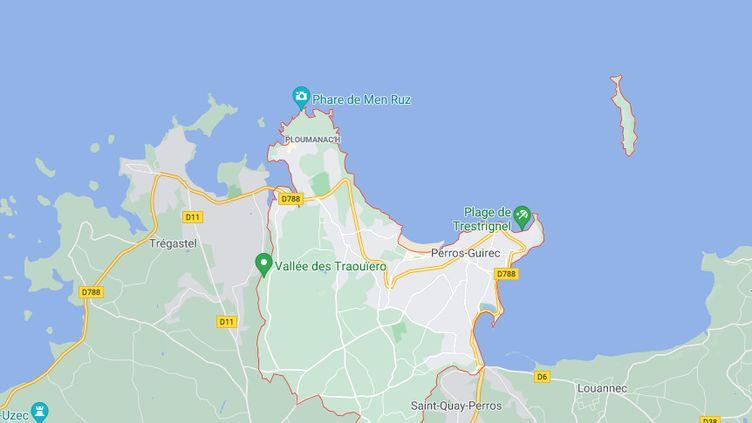 Capture d'écran Google Maps de Perros-Guirec (Côtes-d'Armor). (GOOGLE MAPS)