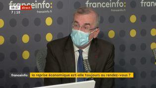 """François Villeroy de Galhau, le gouverneur de la Banque de France, était l""""invité de franceinfo jeudi 15 juillet. (FRANCEINFO / RADIOFRANCE)"""