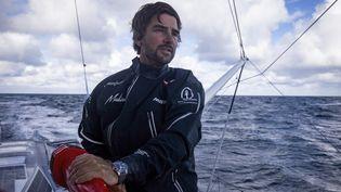 Le skippeur allemandBoris Herrmann, le 11 octobre 2020 lors du Vendée Globe. (PIERRE BOURAS / DPPI MEDIA / AFP)