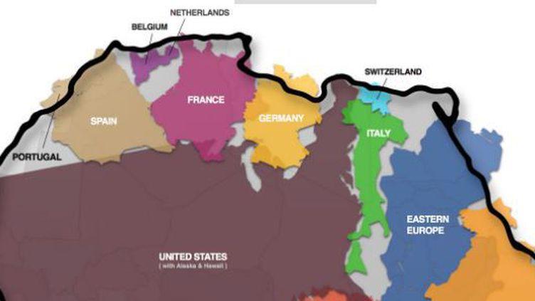 """Un puzzle de pays pour montrer la """"vraie"""" surface de l'Afrique. (Kai Krause)"""