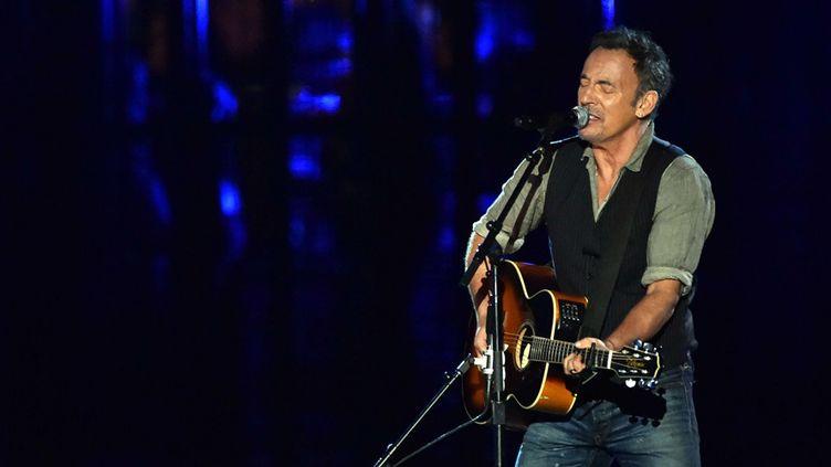 """Bruce Springsteen sur la scène du """"Concert for Valor, dédié aux anciens combattants, le 11 novembre 2014 à Washington  (Kevin Dietsch / NewsCom / Sipa)"""