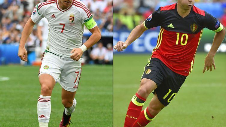 Le Belge Eden Hazard (à droit) et le Hongrois Balazs Dzsudzsak.  (BORIS HORVAT,LOIC VENANCE / AFP)