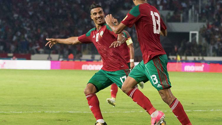 Nabil Dirar (à gauche) a ouvert le score pour le Maroc