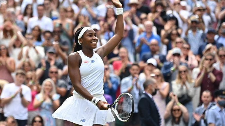 Cori Gauff retrouve les huitièmes de finale à Wimbledon, le 3 juillet 2021. (BEN STANSALL / AFP)