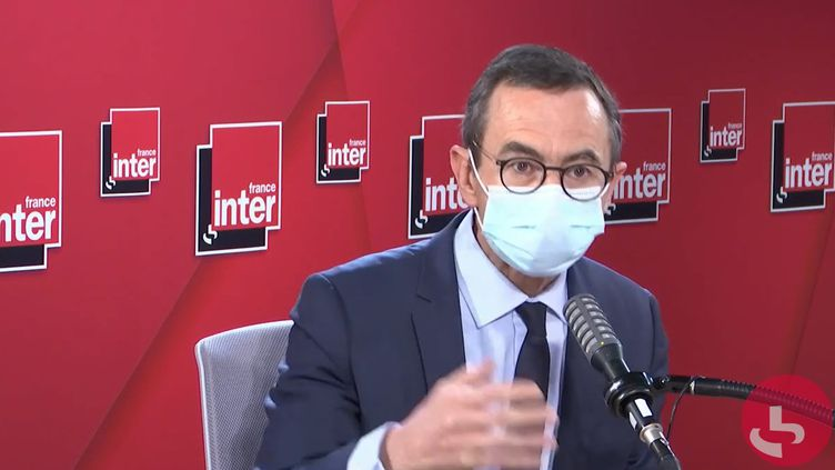 Bruno Retailleau, président du groupe LR au Sénat, sénateur de la Vendée, sur France Inter le 18 mars 2021. (FRANCEINTER / RADIODRANCE)