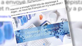 Capture écran d'un article qui affirme que la France a envoyé des tests de dépistage pour le coronavirus à l'Algérie. (CAPTURE D'ÉCRAN)