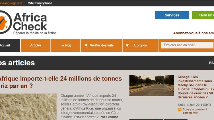 La page d'accueil du site Africa Check en version française (Capture d'écran)