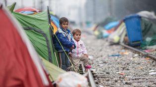 Des enfants dans le camp de réfugiés d'Idomeni (Grèce), à la frontière grecquo-macédonienne, le 13 mars 2016. (MAXPPP)