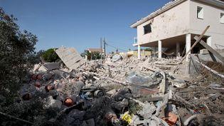 La maison d'Alcanar (Catalogne, Espagne) soufflée par l'explosion, le 17 août 2017. (JAUME SELLART / EFE)