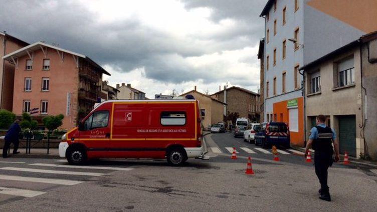 Les pompiers et les gendarmes interviennent près du lieu de la découverte du cadavre d'une mère de famille, à Pontcharra-sur-Turdine (Rhône), le 29 mai 2016. (EMILIE ROSSO / FRANCE 3 RHONE-ALPES)