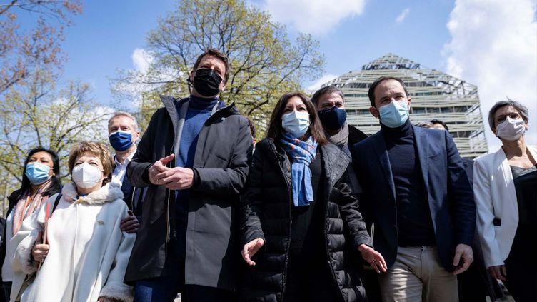 Les leaders de plusieurs formations de gauche s'étaient retrouvés le 17 avril 2021 à Paris. (THOMAS SAMSON / AFP)