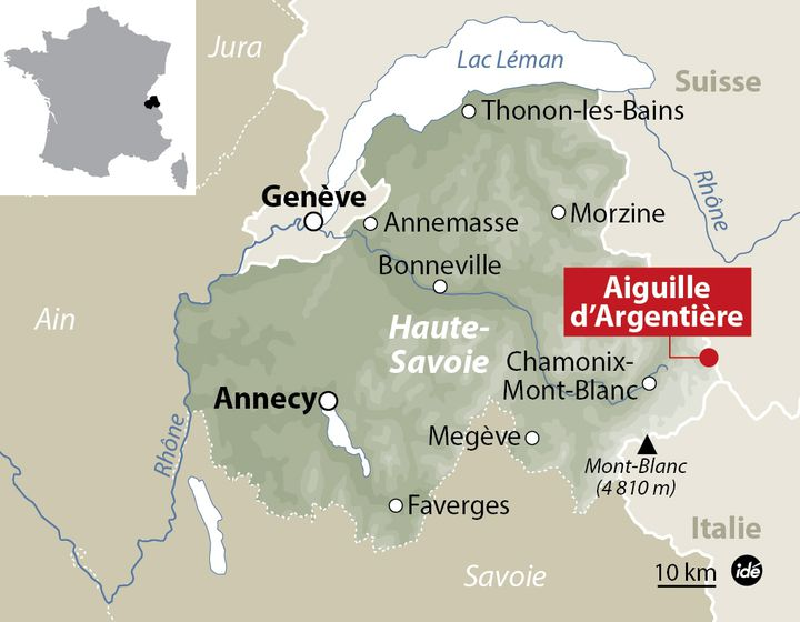 (© Carte de localisation de l'aiguille d'Argentière dans le massif du Mont Blanc / Idé)