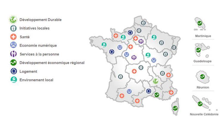(Les différents investissements possibles par région  © caisse-epargne.fr)