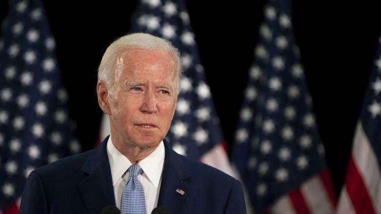 Le candidat démocrate Joe Biden lors d'un discours à l'université du Delaware, le 5 juin 2020 à Dover (Etats-Unis). (JIM WATSON / AFP)