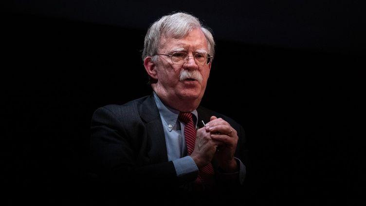 L'ancien conseiller à la sécurité nationale John Bolton lors d'une discussion à l'université Duke de Durham, en Caroline du Nord (Etats-Unis), le 17 février 2020. (LOGAN CYRUS / AFP)