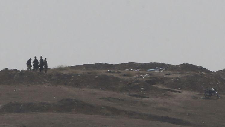 Des combattants, probablement membres du groupe Etat islamique, photographiés à l'ouest de Kobani (Syrie), le 13 octobre 2014. (UMIT BEKTAS / REUTERS)
