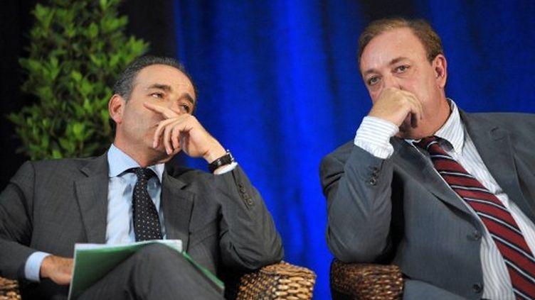 Jean-François Copé et Marc Daubresseà Marcq-en-Baroeul  le (7 juin 2011) (PHILIPPE HUGUEN / AFP)