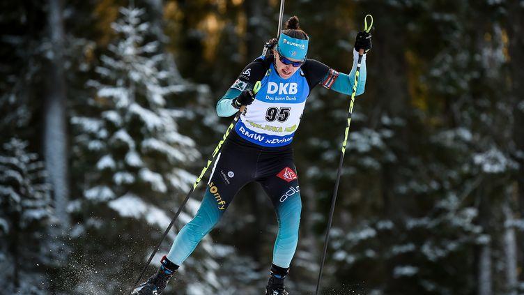 Julia Simon a pris une part importante dans la troisième place du relais dames français. (JURE MAKOVEC / AFP)