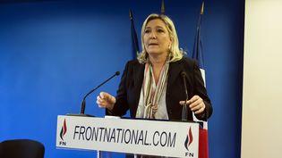 Marine Le Pen délivre ses vœux à la presse, le 7 janvier 2016 au siège du Front national à Nanterre (Hauts-de-Seine). (LIONEL BONAVENTURE / AFP)