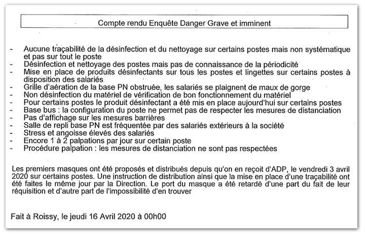 Extrait du compte-rendu daté du 16 avril 2020 de l'enquête pour danger grave et imminent chez Samsic Sûreté Aéroportuaire. (CELLULE INVESTIGATION DE RADIOFRANCE)