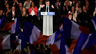 Nicolas Sarkozy en meeting à Nîmes (Gard), le 18 novembre 2016. (PASCAL GUYOT / AFP)