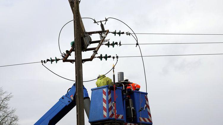 Le 10 février 2020 des techniciens d'Enedis interviennent sur une ligne électrique endommagée par la tempête Ciara. (ALEXANDRE MARCHI / PHOTOPQR/L'EST REPUBLICAIN/MAXPP)