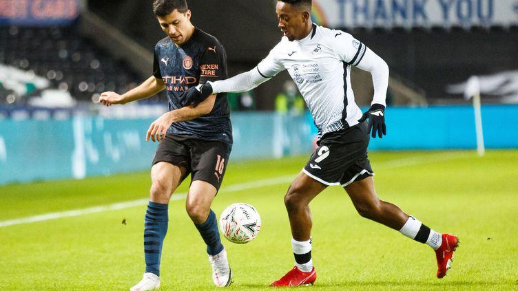 Jamal Lowe, l'attaquant de Swansea, a fait l'objet d'insultes racistes sur les réseaux sociaux. (GRUFFYDD THOMAS / PROSPORTSIMAGES)