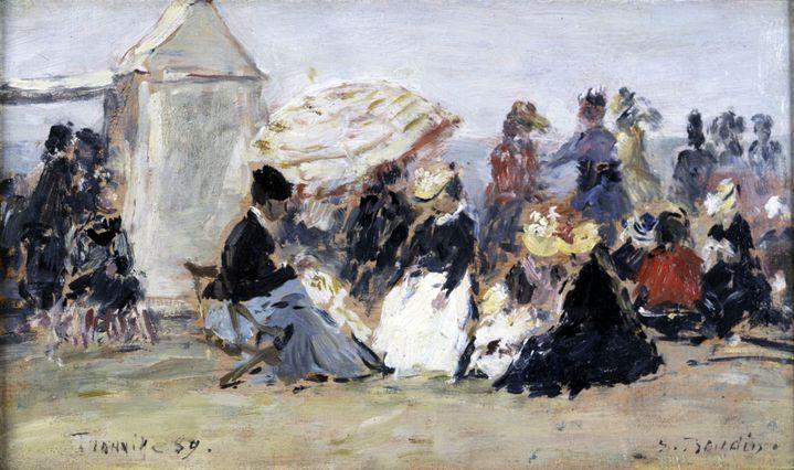 """Eugène-Louis Boudin (1824-1898), """"Scène de plage à Trouville"""", 1869, collection particulière, Courtesy Galerie de la Présidence, Paris  (Galerie de la Présidence)"""