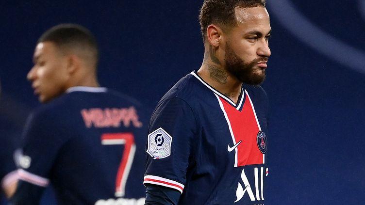 L'attaquant du PSG, Neymar, lors d'un match de Ligue 1, contre Lyon, le 13 décembre 2020, auParc des Princes à Paris. (FRANCK FIFE / AFP)