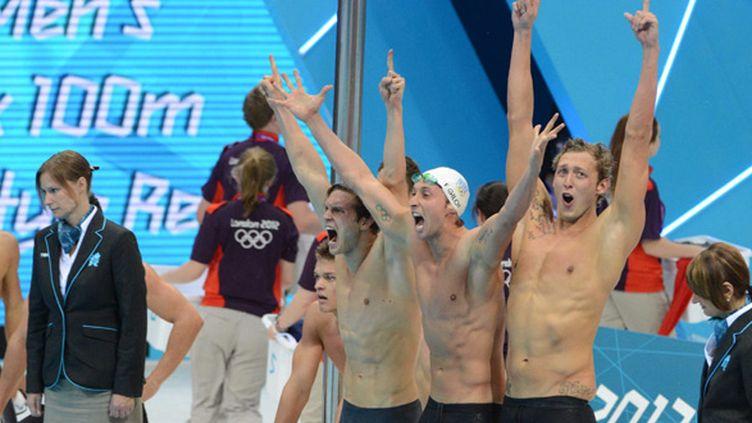 Fabien Gilot, Clément Lefert et Amaury Leveaux, champions olympiques à Londres avec Yannick Agnel sur le relais 4x100m
