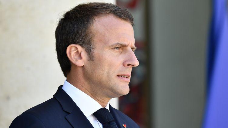 Emmanuel Macron lors de sa rencontre avec le président chinois, le 25 juin 2018, à l'Elysée, à Paris. (MUSTAFA YALCIN / ANADOLU AGENCY / AFP)