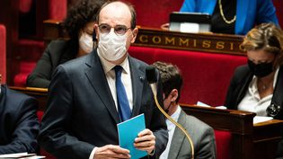 Jean Castex s'exprime à l'Assemblée nationale (Paris), le 16 mars 2021. (XOSE BOUZAS / HANS LUCAS / AFP)
