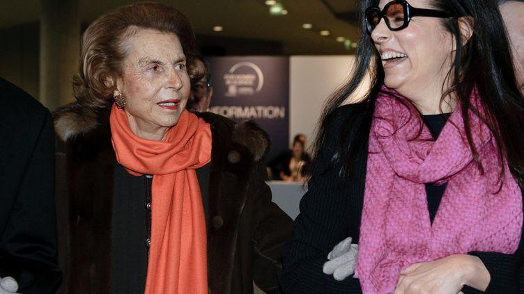 (Liliane Bettencourt et Françoise Meyers-Bettencourt le 3 mars 2011©MAXPPP)