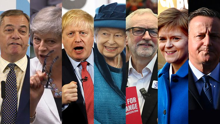 De gauche à droite : Nigel Farage, Theresa May, Boris Johnson, Elizabeth II, Jeremy Corbyn, Nicola Sturgeon, David Cameron. (GEOFF CADDICK / PRU /  PETER NICHOLLS / TOLGA AKMEN / OLI SCARFF / DANIEL LEAL-OLIVAS  / ANDY BUCHANAN /AFP)