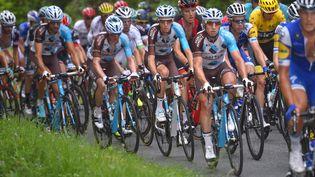 Les Français Cyril Gautier, Romain Bardet, Alexis Vuillermoz de l'équipe AG2R, lors de la 9e étape du 104e Tour de France, entre Nantua (Ain) et Chambéry (Savoie), le 9 juillet 2017. (DPPI)