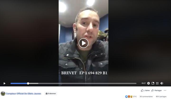 Capture d'écran d'une vidéo partagé plus des milliers de fois sur Facebookaffirmant que le coronavirusa a été créé par des chercheurs français en 2003. (CAPTURE ECRAN FACEBOOK)