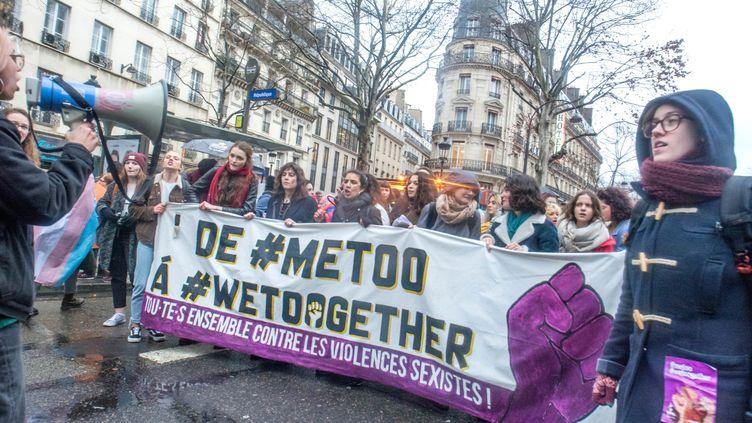 Manifestation à l'appel d'associations féministes à l'occasion de la journée des droits des femmes, le 8 mars 2018. (MAXPPP)