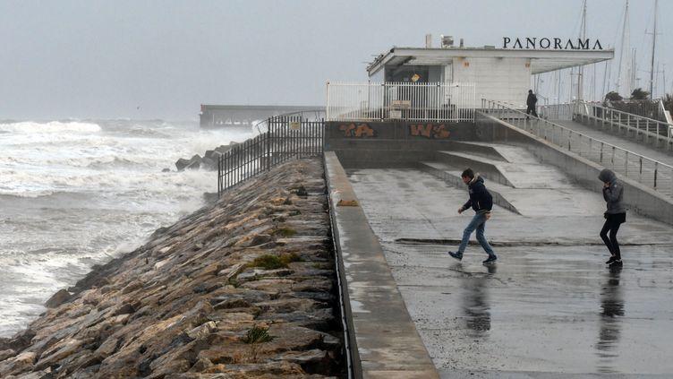La tempête Gloria lors de son passage en Espagne, le 20 janvier. (JOSE JORDAN / AFP)