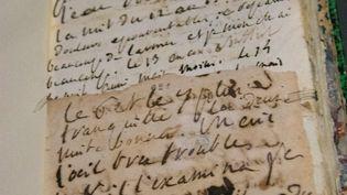 """Un manuscrit du Marquis de Sade, lors de l'exposition """"Manuscrits de l'Extrême"""" à la BNF, en 2019. (SANDRINE MARTY / HANS LUCAS)"""
