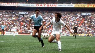 Gerd Müller face à l'Uruguay lors du match pour la troisième place de la Coupe du monde 1970. (HEIDTMANN / DPA / AFP)