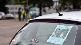 Des affichettes sont aussi placardées sur les voitures et dans les commerces des environs de Pont-de-Beauvoisin (Isère). (ALLILI / SIPA)