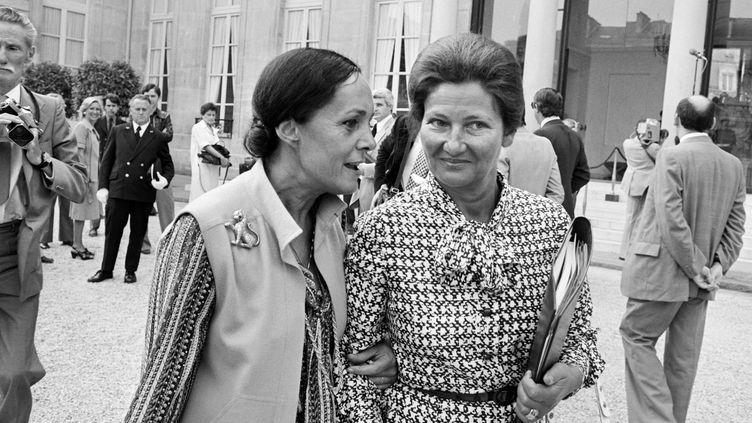 Simone Veil alors ministre de la Santé (à droite), avec la secrétaire d'État aux Universités,Alice Saunier-Seïté. (AFP)