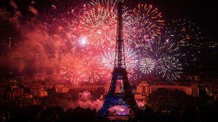 Le feu d'artifice du 14 juillet 2018 à Paris. (LUCAS BARIOULET / AFP)
